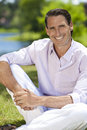 Outdoor Portrait of Handsome Middle Aged Man Royalty Free Stock Photo