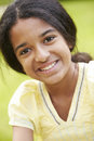 Outdoor portrait of indian girl happy smiling at camera Royalty Free Stock Photo