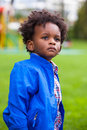 Outdoor portrait of a little african american boy black chil children people Stock Photos