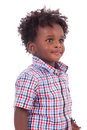 Outdoor portrait of a little african american boy black chil isolated on white background children people Royalty Free Stock Photo