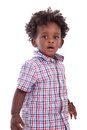 Outdoor portrait of a little african american boy black chil isolated on white background children people Stock Photos