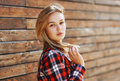 Outdoor portrait sensual pretty woman in the city Royalty Free Stock Photo
