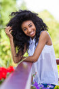 Outdoor portrait of a teenage black girl african people smiling Royalty Free Stock Photo