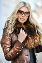 Outdoor portrait of young beautiful stylish woman wearing sungla outdoors sunglasses Stock Photos