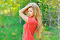 Outdoor portrait of young beautiful woman with chic hair Royalty Free Stock Photo