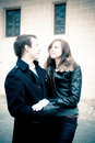 Outdoor portrait of a young couple Stock Photo