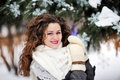 Outdoor portrait of young girl in winter park woman standing snow cold weather Stock Images