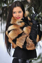Outdoor portrait of young pretty beautiful woman in cold winter wearing fur coat outdoors Royalty Free Stock Images
