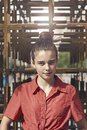 Portrait of a young woman with topknot Royalty Free Stock Photo