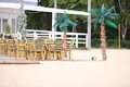 Outdoor restaurant cafe chairs with table beach open air Stock Photo