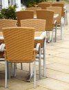 Outdoor restaurant cafe chairs with table coffee terrace open air summer vacation on resort Royalty Free Stock Photography