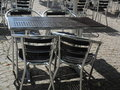Outdoor restaurant cafe chairs with table coffee terrace open air summer vacation on resort Royalty Free Stock Images