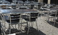 Outdoor restaurant cafe chairs with table coffee terrace open air summer vacation on resort Royalty Free Stock Image