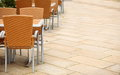 Outdoor restaurant cafe chairs with table coffee terrace open air summer vacation on resort Royalty Free Stock Photos