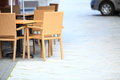 Outdoor restaurant cafe chairs with table open air Stock Photography
