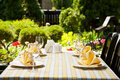 Outdoor restaurant dining table Stock Photo