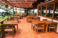 Outdoor restaurant interiour wooden floor furniture thailand Royalty Free Stock Photos
