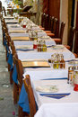 Outdoor restaurant tables Royalty Free Stock Photos
