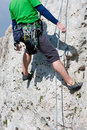 Outdoor rock climbing with equipment man special and gear Royalty Free Stock Photos