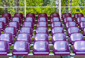 Outdoor seating view of empty purple plastic chairs in rows Stock Photos