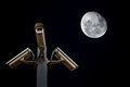 Outdoor security cctv cameras against night sky and moon Stock Photos