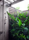 Outdoor shower area of modern resort Royalty Free Stock Images