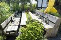 Garden patio with bench Royalty Free Stock Photo