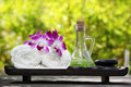 Outdoor spa still life Stock Images