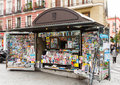 Outdoor stands with newspapers and magazines at street madrid spain april news in april in madrid spain Stock Photo