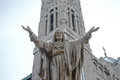 Outdoor Statue of Jesus with Open Arms Royalty Free Stock Photo
