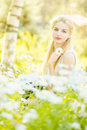 Outdoor summer portrait of young pretty cute blonde girl beautiful woman posing in the park Royalty Free Stock Image