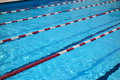 Outdoor swimming pool lanes slanted view of an on a sunny summer day Stock Photo