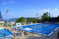 Outdoor swimming pool in summer picture taken on july varna bulgaria Royalty Free Stock Image