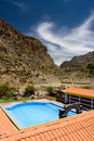 Outdoor swimming pool on  thermal spring in Peru Royalty Free Stock Image
