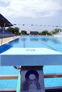 Outdoor swimming pool view from jumping place number at the fresh Royalty Free Stock Image