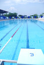 Outdoor swimming pool view from jumping place number at the fresh Stock Photo