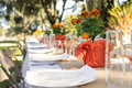 Outdoor table set for meal Royalty Free Stock Photo