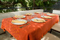 Outdoor table setting Royalty Free Stock Photos