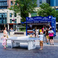 Outdoor table tennis an in bristol city centre united kingdom Royalty Free Stock Photography