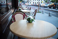 Outdoor terrace of restaurant in the street Royalty Free Stock Photo