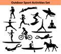 Outdoor Training Sport Activities. Female Silhouette.