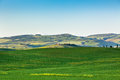 Outdoor tuscan hills landscape green horizontal shot Royalty Free Stock Photo