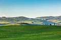 Outdoor tuscan hills landscape green horizontal shot Royalty Free Stock Image