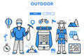 Outdoor vacation hiking concept flat line art vector icons