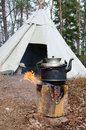 Outdoor water cooking Royalty Free Stock Photo