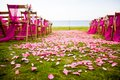 Outdoor wedding aisle at a destination wedding with rose petals scattered on the ground tropical Stock Photography