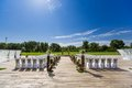 Outdoor wedding scene chairs and flowers at an Royalty Free Stock Image