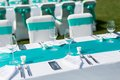 Outdoor wedding scene table and chairs at an Stock Photos
