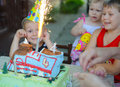 Outdoors birthday party cake fireworks candles Stock Image