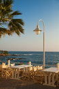 Outdoors cafe with sea view crete greece Royalty Free Stock Photo